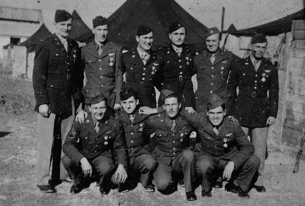 (Left to Right) Back row: Cpt Hanson, Sgt. Cox, Lt Betz, Lt. Fermano, Sgt Brady, Lt German Front row: Sgt. McGraw, Sgt Acompora, Sgt. Turpin, Sgt. Nally